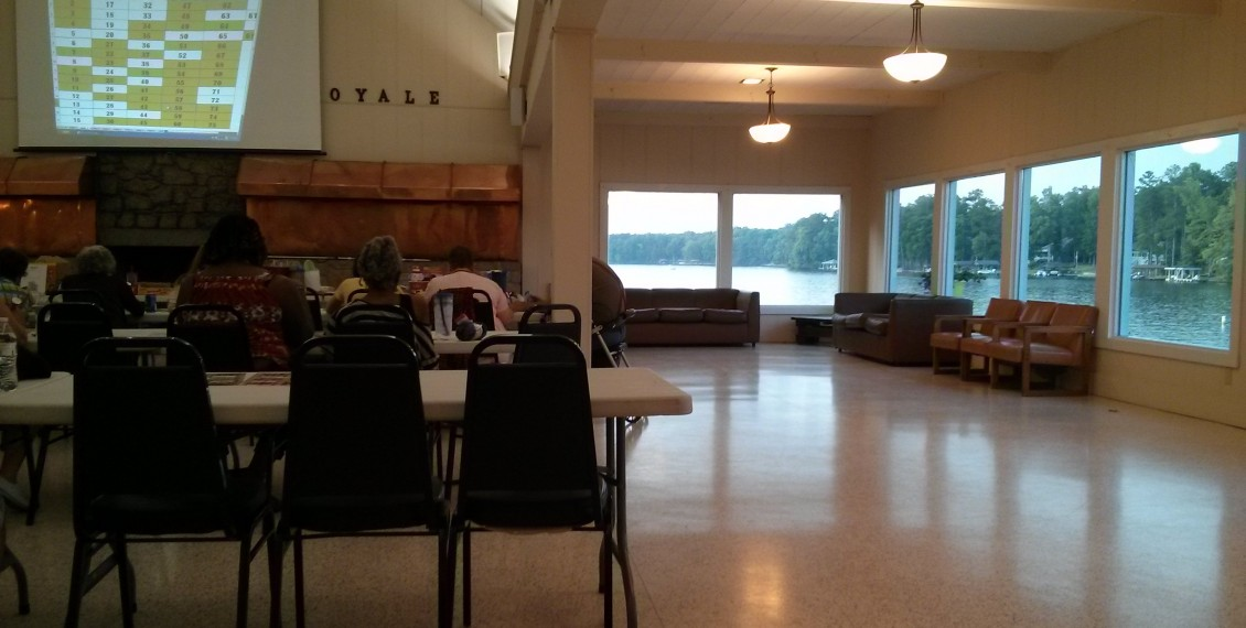 Lake Royale sunset bingo in the club house