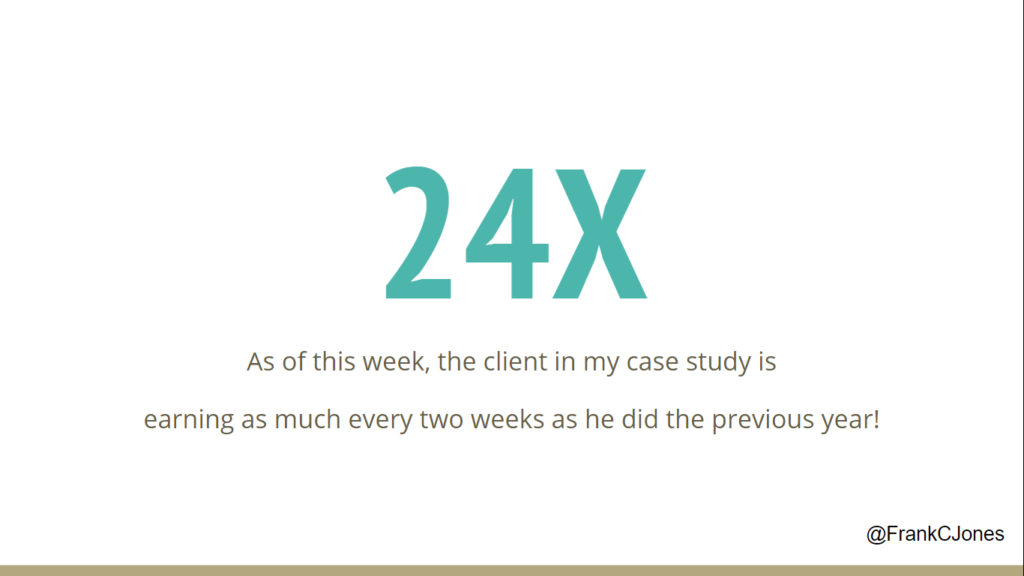 After 7 months, my client is earning 24X their starting revenue